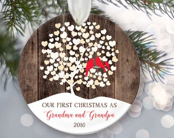 Lovebirds Our First Christmas as Grandma and Grandpa Ornament, Personalized Christmas Ornament, Rustic faux / fake Wood Ornament, OR006