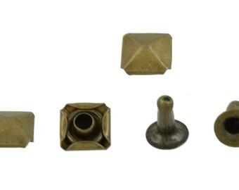 Pyramid Rapid Rivet Studs Leathercraft Supplies Antique Brass Color 7 mm. 100 pcs.