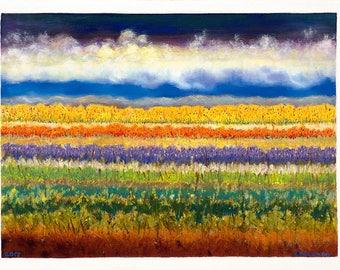 "Greeting Card,  Print of Original Painting ""The Seasons Out My Backyard"""