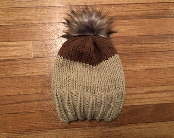 Two Tone Knit Hat with Faux Fur Pom