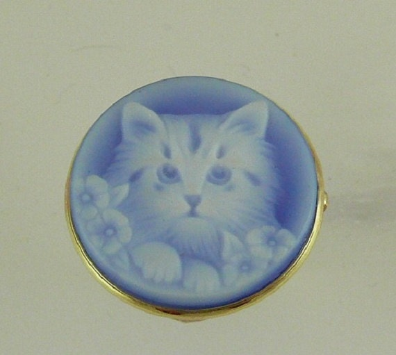 Cameo Blue Agate 20.0mm Cat Ring 14k Yellow Gold