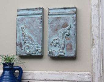 Plinth block -Aqua Sky Vintage - B -farmhouse style - Architectural Trim  - aqua chippy paint