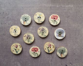 30 round Vintage Flower Pot version 2 Nature design wood buttons