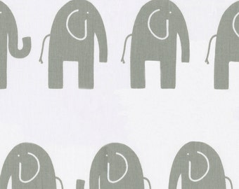 White and Gray Elephants Fabric - By The Yard - Elephants / Gender Neutral
