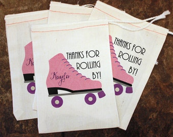 4 Pack Rollerskating Party Favor, Girls Roller Skate Goody Bag, Rollerskating Birthday Candy Bag, Muslin Bag Custom, Rollerskate Gift Bag