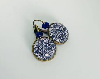 Earrings studs - Stud Earrings - arabesque - mosaic - blue and white