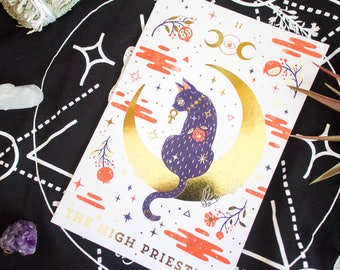 The High Priestess Animal Spirit Folded Greeting Card with Gold Foil Accents