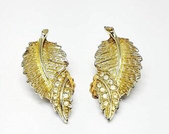 30% Off Sale Sarah Cov Vintage Leaf Clip On Earrings with Rhinestones