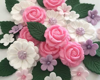 LILAC PINK WHITE Rose Bouquet Edible Sugar Flowers Cake Decorations Cupcake Toppers