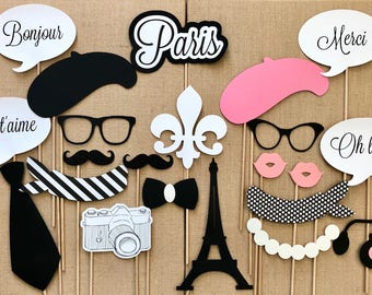 Paris Photo Booth Props . Parisian Photo Booth Props . Photo Booth Props . Paris . Parisian . Glitter . Set of 22