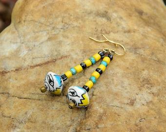 Yellow and Turquoise Czech Boho Dangle Earrings