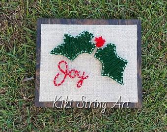 joy string art, wood sign, christmas gift, holiday gift, family, wall decor, home decor, wall art
