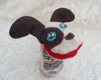 Dog Hand Puppet - Handmade from Wool Sweaters- Recycled -Upcycled- Eco Friendly