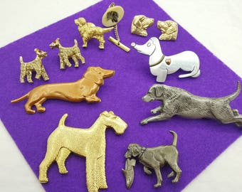 Dogs and Puppies Brooches  Puppy Dog Lover Pin Gold tone Pewter Silver tone