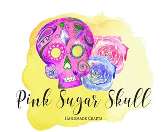 Premade Logo, Sugar Skull Logo, Pink Skull, Shop Logo, Business Branding, Mexican Logo, Calavera Graphic, Shop Graphic, Day of the Dead