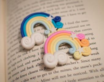 Poly Clay Rainbow Hair Clip with Cloud and Stars