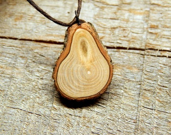 Naturally Pear Shaped Miniature Pine Rustic Twig Wooden Pendant by Tanja Sova