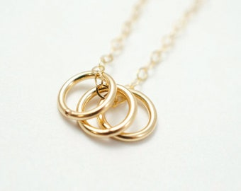 Family necklace - three circle necklace - simple gold necklace
