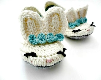 Women's Slippers - crochet bunny slippers - womens shoes - crochet knit bunny slippers - white blue gray