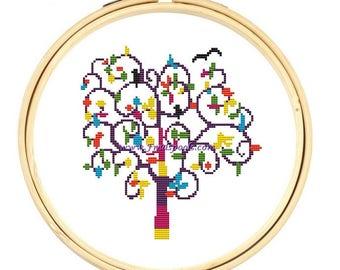 Modern Cross Stitch Kit  Tree of Life
