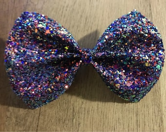 Iridescent chunky glitter bow