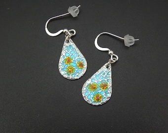 REDUCED! Silver and Enamel Turquoise Dreaming Earrings. Handmade