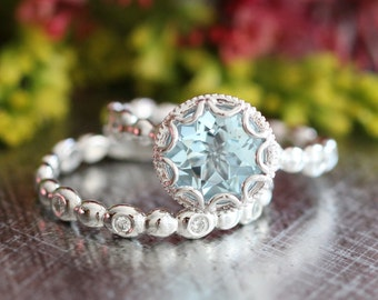 14k White Gold Floral Aquamarine Engagement Ring Bridal Set of Pebble Diamond Wedding Band and 8mm Round Cut Blue Gemstone Ring Wedding Set