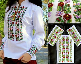 Ukrainian embroidery, embroidery, ukrainian blouse, Ukraine, embroidered blouse, bead embroidery, beads, blouse with ornament, 15% discount