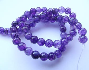 colored 6 mm REIA 447 dragon vein agate 60 beads