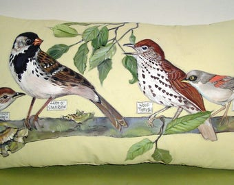 Bird Watching - Hand Painted Pillow 10 x 17.5 Striking Bird Gathering on Vanilla Background Spring - Summer Delightful Woodland Birds Accent
