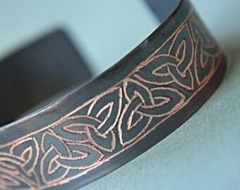 Copper Bracelet, Trinity Knot, Engraved Copper Bracelet, Mens and Womens Copper Bracelet, Personalized Bracelet Custom Bracelet Wedding Gift