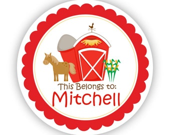 Name Tag Stickers - Red Barn, Horse Farm Animal Personalized Name Label Sticker - This Belongs To Labels - Perfect for Back to School Labels