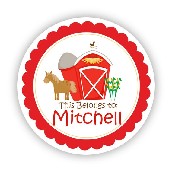 Name tag stickers red barn horse farm animal personalized name label sticker this belongs to labels perfect for back to school labels from