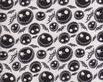 Jack Skellington Skeleton on WHITE Cotton Jersey Fabric inspired by Nightmare Before Christmas [SKU:MFR2Fab001]