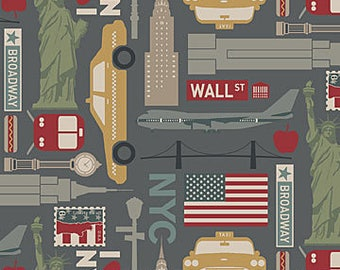 Destinations from Northcott Fabrics - Full or Half Yard New York Travel Fabric - NYC Statue of Liberty Wall St Cabs