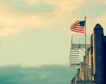 Chicago Photography, North Center, Lincoln Square, Chicago Art, white fire escape, American flag, Chicago Architecture, Ravenswood, wall art