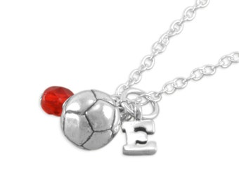 SOCCER Ball Necklace, Sterling Silver, birthday necklaces, personalized, initial, gifts, childs jewelry, teen, sports, birthstone, ERICA