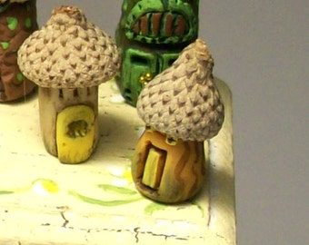 "Fairy Acorn House Set of Two Artisan Sculpted 1"" Scale for Dollhouse Greenhouse Mini Garden Decor or Terrarium Ornament"