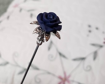 Victorian Hat Pin. Vintage Inspired. Deep Blue Floral Rose & Antique Silver, Scarf Pin, Hair Pin, Stick Pin. DISPLAY or USE! Strong. Collect