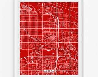 Aurora Map, Colorado Poster, Aurora Poster, Aurora Print, Colorado Print, Colorado Map, Street Map, Wall Decor, Mothers Day Gift