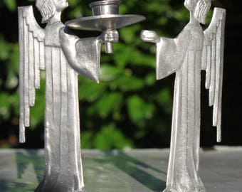 2 Christmas angel Angel from tin antique Art Nouveau candle holder guardian angel