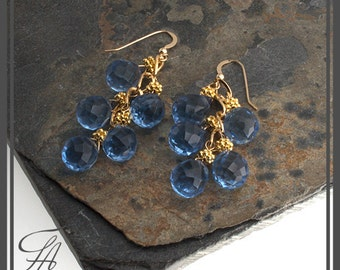 Blue Earrings, Sky Blue Earrings, Blue Quartz Earrings, Dangle Earrings, Gold Earrings, Cascade Earrings, Handmade Earrings