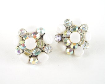 Vintage Vogue AB Crystal & Milk Glass Earrings Clip On Bridal Wedding