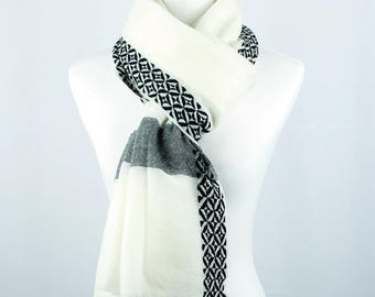 Women, Men's YAK Wool Scarf - White/Creme color, Limited Edition