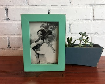 4x6 Picture Frame in 1x1 Flat Style with Vintage Robin's Egg Finish - IN STOCK - Same Day Shipping - 4 x 6 Photo Frame Rustic Green