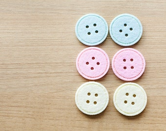Felt buttons - 6 pcs of pastel color felt buttons - supplies - button sets - 3.5cm