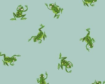 Heather Ross - Kinder - Frogs Pale Blue 43484-9  Windham Fabrics - Sold by the Half Yard