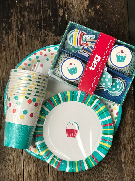 Cupcake Theme Colorful Polka Dot Paper Plates Cups Cupcake liners and toppers in teal red yellow Birthday Party Baby Bridal Shower from Lemonpieparty on ... : cupcake paper plates - Pezcame.Com