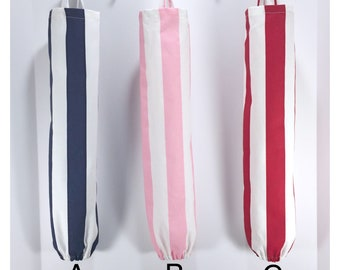 Stripe Plastic Bag Dispenser, Red, Pink,  Navy Blue and White Stripe Plastic bag Holder, Reusable Plastic Bag, Recycle Plastic Holder
