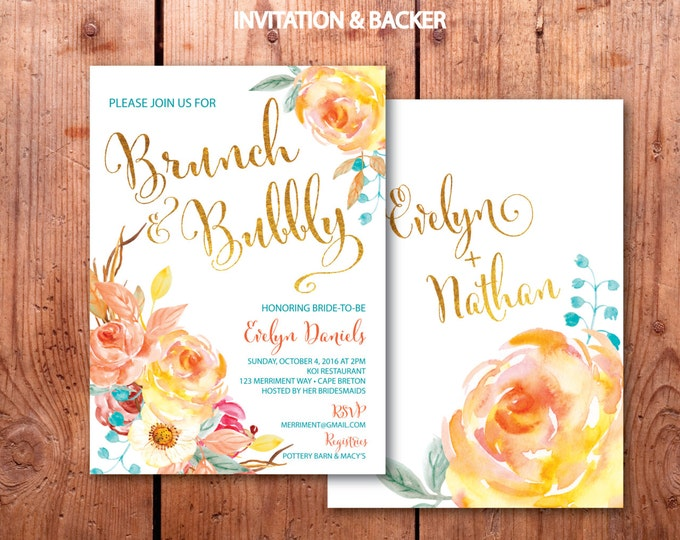 Fall Brunch and Bubbly Invitation // Bridal Shower // Floral // Blue // Orange // Gold Foil // Yellow// Watercolor // CAPE BRETON COLLECTION